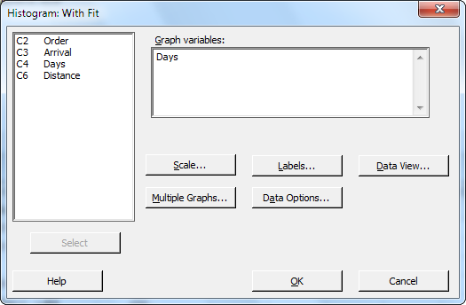 Histogram: With Fit dialog box